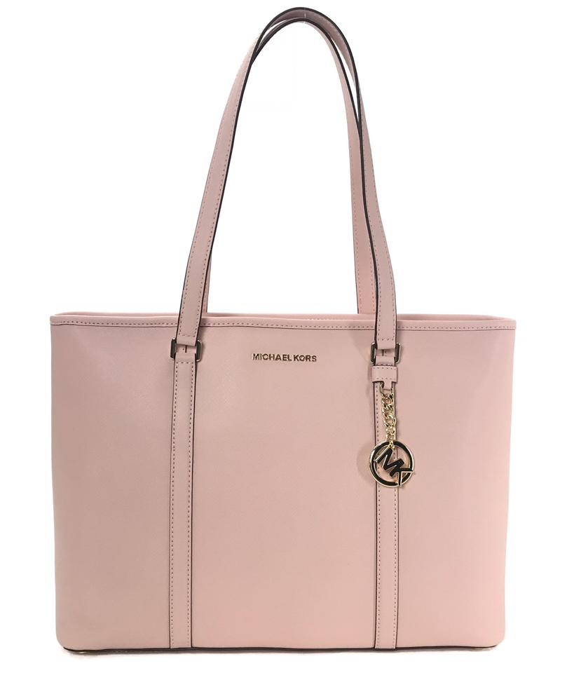 Michael Kors New Sady Large Multifunctional Top Zip Pink Leather Tote 62 Off Retail
