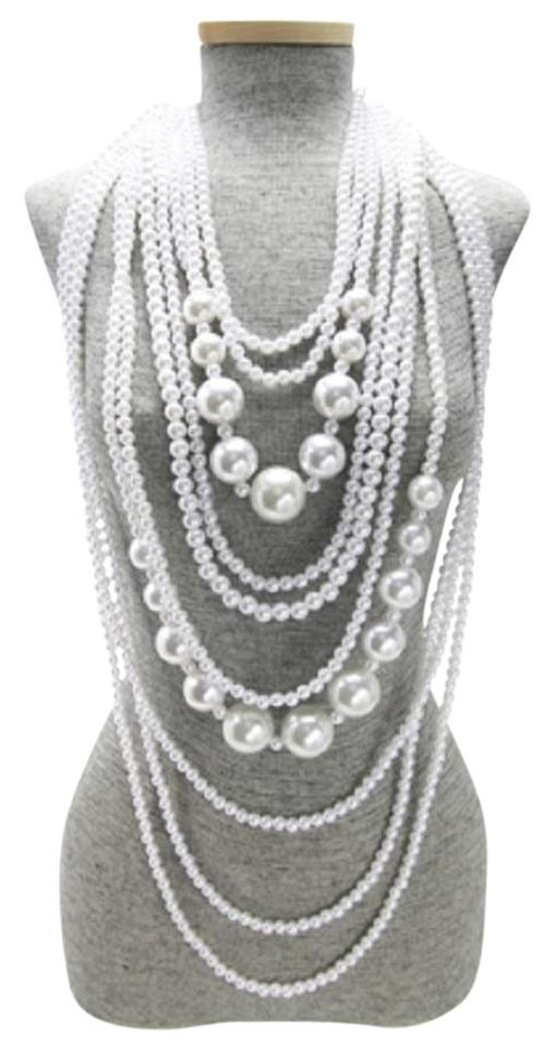 ef942fd64 Other Long Multi Layered White Pearl Beads Necklace And Earrings Image 0 ...
