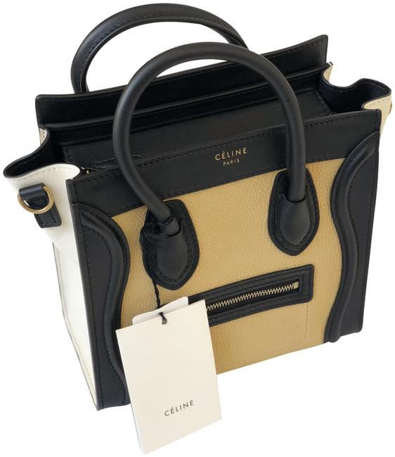 Item - Luggage Nano Tricolor Yellow Cream and Black Leather Cross Body Bag