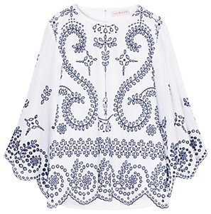 Tory Burch Mariana Top White with Navy Eye-lit Embroidery