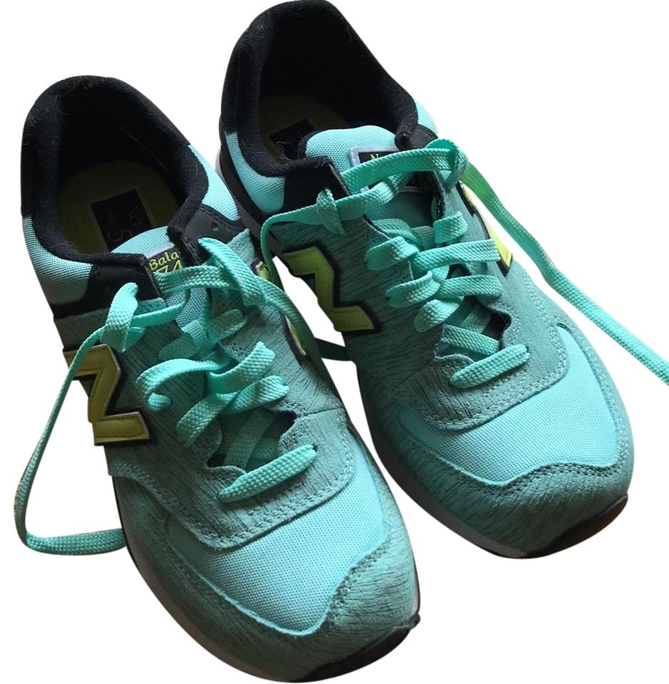 9842d20cf0e8 New Balance Mint Green with Black and Yellow Trim 574 Sneakers Size ...
