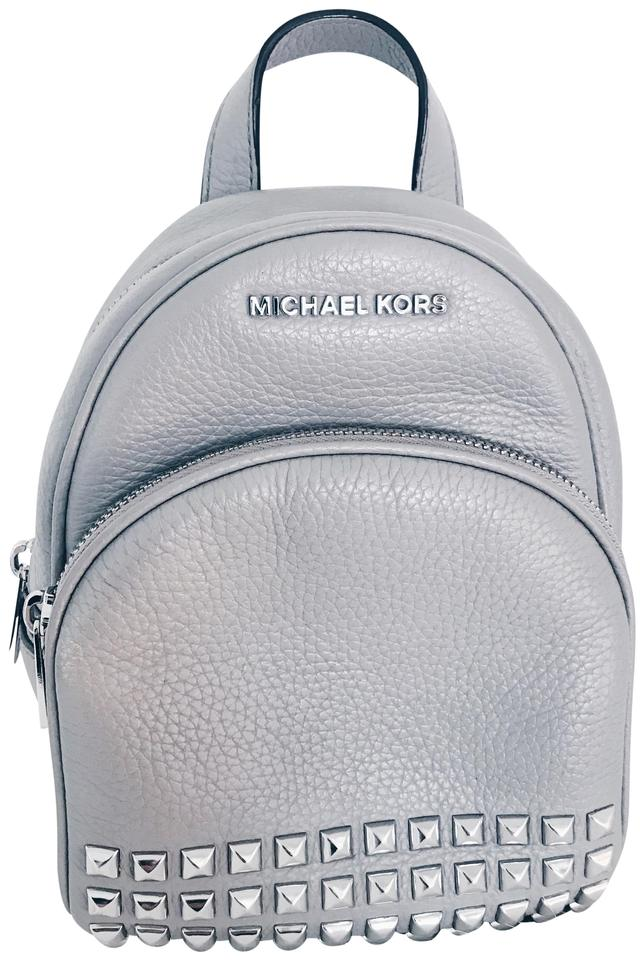 b76244406601 MICHAEL Michael Kors Rhea Mini Studded Grey Silver Leather Backpack ...