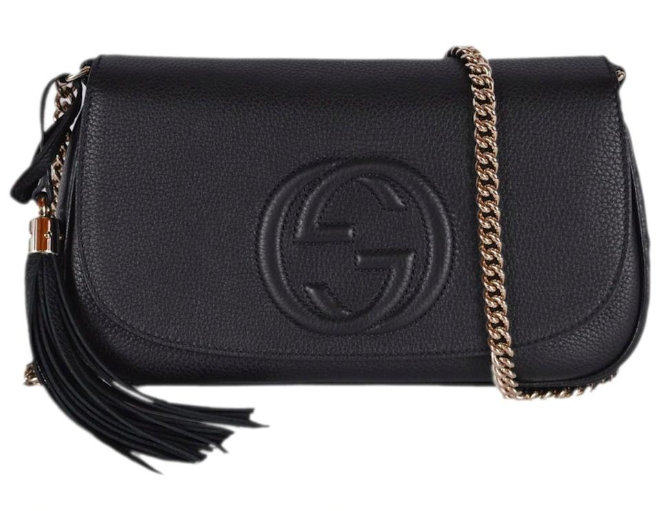 Gucci Soho New Gg Logo Purse Black Leather Cross Body Bag - Tradesy bb44c4d88462f