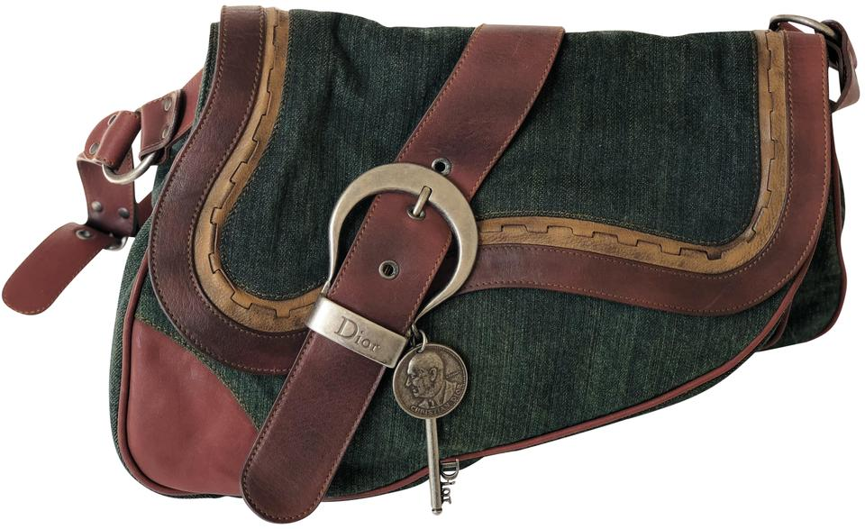 531de2a6046 Dior Gaucho Large Double Saddle In Green and Brown Denim Leather Shoulder  Bag