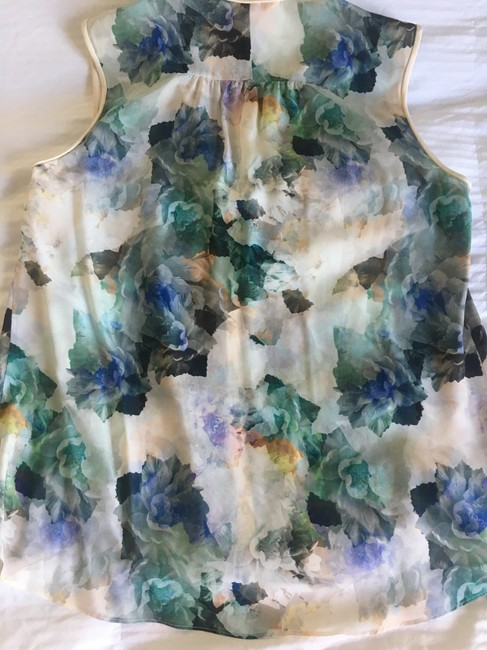 Rebecca Taylor Cream Blue Green Sleeveless Top Floral Image 1