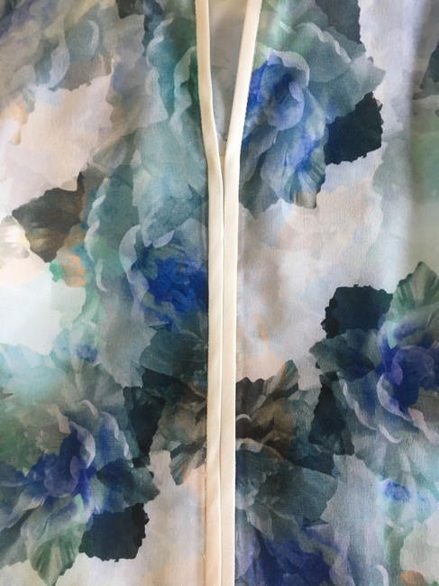Rebecca Taylor Cream Blue Green Sleeveless Top Floral Image 3