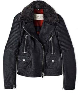 Burberry Moto Biker Leather Shearling Motorcycle Jacket