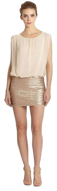 Item - Cream and Gold Sequin Blouson Short Night Out Dress Size 0 (XS)