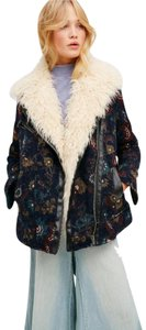 Free People Floral Print Faux Fur Detailing Hidden Side Front Zip Zippered Cuffs Multicolor Jacket