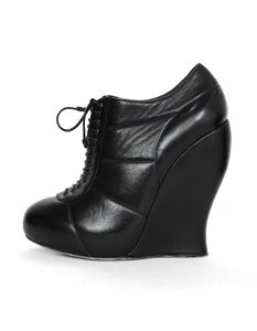 Nina Ricci Leather Lace Up Booties Black Wedges
