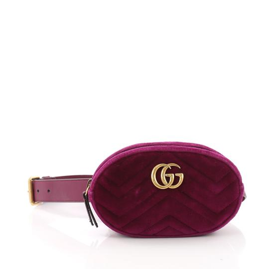 2ae5f672f78 Gucci Marmont Gg Belt Matelasse Purple Velvet Shoulder Bag - Tradesy