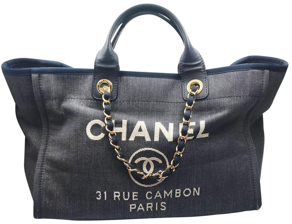 cb23d8b4b7d4 Chanel Deauville Bag Navy Denim Leather Tote - Tradesy
