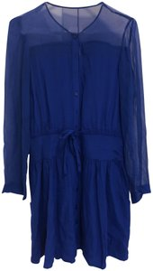 Oonagh by Nanette Lepore short dress Cobalt Chiffon Silk Longsleeve Sheer on Tradesy