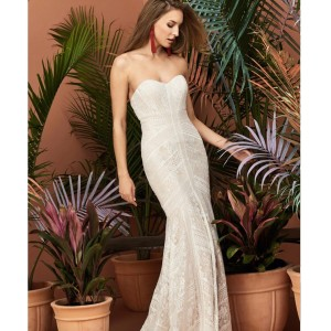 Wtoo Ivory Lace Over Almond Felin Feminine Wedding Dress Size 6 (S)