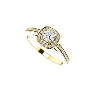DesignByVeronica Cubic Zirconia Square Halo Ring in 14K Yellow Gold