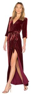 L'AGENCE Velvet Red Carpet Designer Gown Dark Red Dress