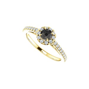 DesignByVeronica Round Black Onyx CZ Halo Style Ring in 14K Yellow Gold