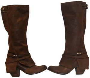 Fergie Designer Leather Cowboy BROWN Boots