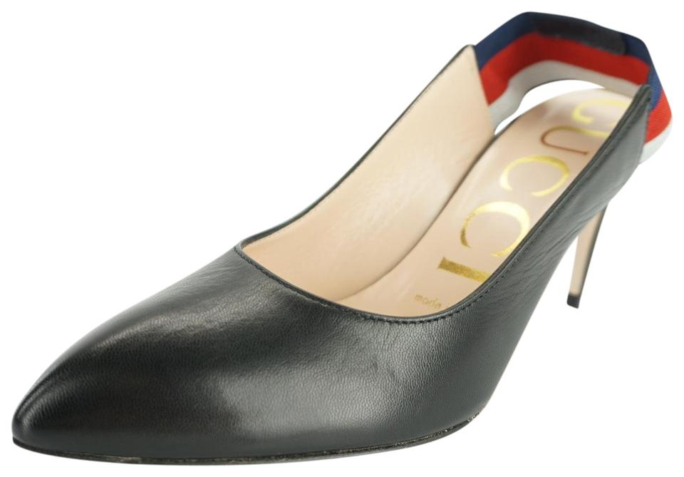 e51f5c5748f0 Gucci Black Sylvie Leather Blue Red Web Strap Pointed Toe Slingback ...