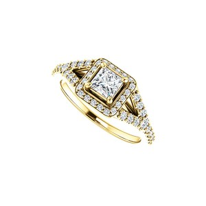 DesignByVeronica True Love Square CZ Halo Style Ring in 14K Yellow Gold