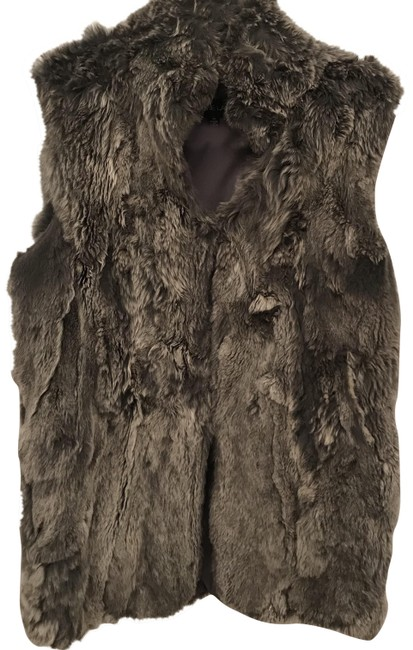 Item - Grey Real Rabbit Fur Gilet / Vest Size 8 (M)
