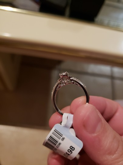 Silver And Band Engagement Ring Image 2