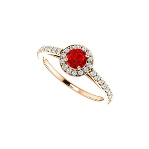 DesignByVeronica Brilliant Cut Ruby and CZ Halo Ring in 14K Rose Gold