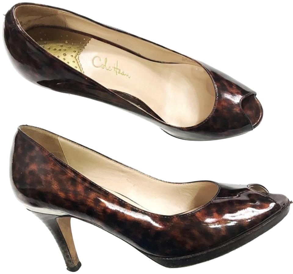 ce9266e5fde Cole Haan Brown Black Women s Animal Print Patent Leather Peep Pumps. Size   US 7.5 Regular (M ...