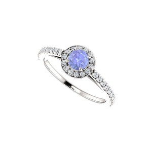 DesignByVeronica Tanzanite and Glittering CZ Halo Engagement Ring Gold