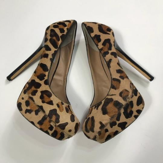 Steve Madden Animal Print Real Fur Cow Hair Brown Pumps Image 4