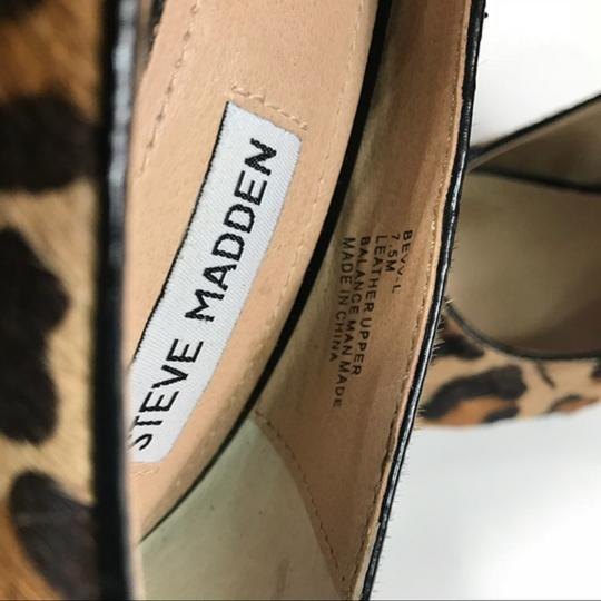 Steve Madden Animal Print Real Fur Cow Hair Brown Pumps Image 5