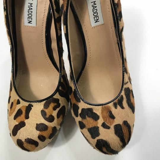 Steve Madden Animal Print Real Fur Cow Hair Brown Pumps Image 6