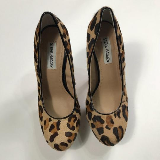 Steve Madden Animal Print Real Fur Cow Hair Brown Pumps Image 7