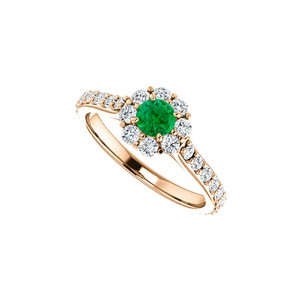 DesignByVeronica Round Emerald CZ Floral Style Halo Ring 14K Rose Gold