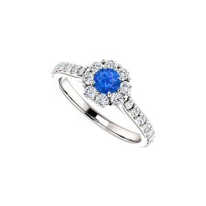 DesignByVeronica Sapphire and CZ Classy Sparkle Halo Ring in White Gold