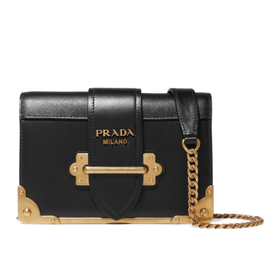 62889e6c2d Prada Cahier Mini Gold Framed Leather Shoulder Cross Body Bag - Tradesy