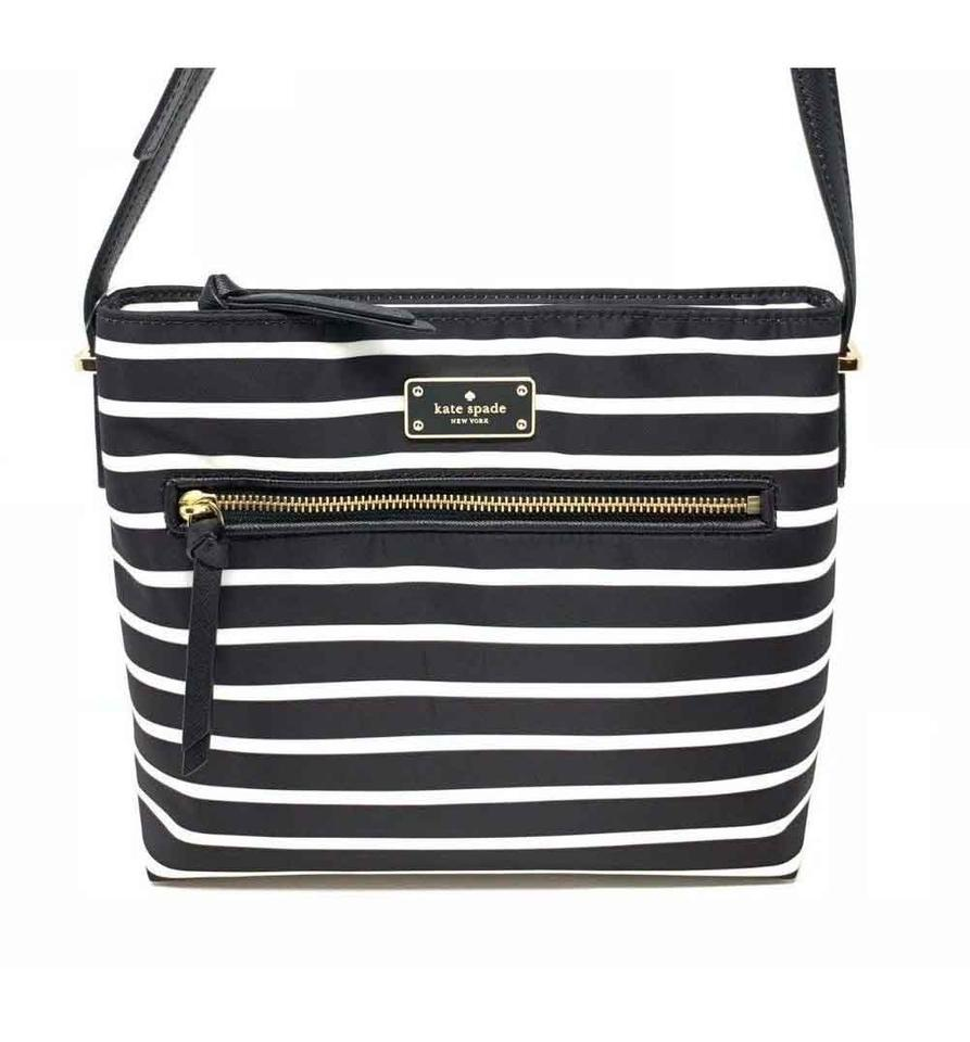 0b3391fba0288 Kate Spade Dessi Wilson Road French Stripe Black Multi Nylon Cross Body Bag