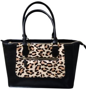 Joy & IMAN Leather Satchel in Black with Animal print