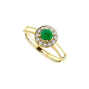 DesignByVeronica May Birthstone Emerald CZ Halo Ring in 14K Yellow Gold