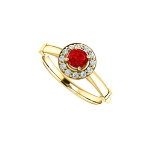 DesignByVeronica July Birthstone Ruby CZ Halo Ring in 14K Yellow Gold