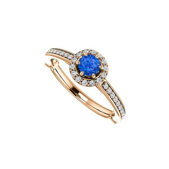 Preload https://img-static.tradesy.com/item/24172578/blue-14k-rose-gold-round-sapphire-and-cz-halo-design-ring-0-0-540-540.jpg