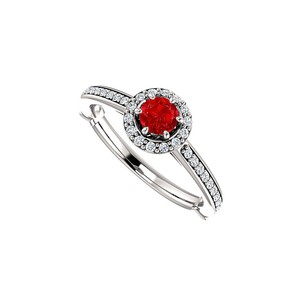 DesignByVeronica Three Fourth Carat Ruby and CZ Halo Ring in White Gold