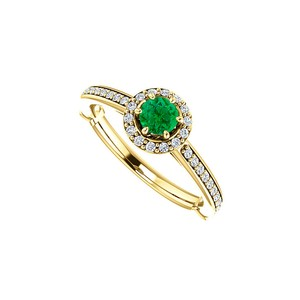 DesignByVeronica Stunning Emerald and CZ Halo Ring in 14k Yellow Gold
