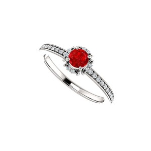 DesignByVeronica Stunning Ruby and CZ Unique Style Gold Ring 0.75 CT TW