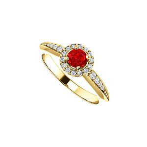 DesignByVeronica Ruby and Cubic Zirconia Halo Ring in 14K Yellow Gold