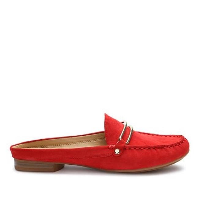 Tahari Red Suede Mule Flats Size US 7.5