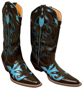 Lagos Brown and Turquoise Boots