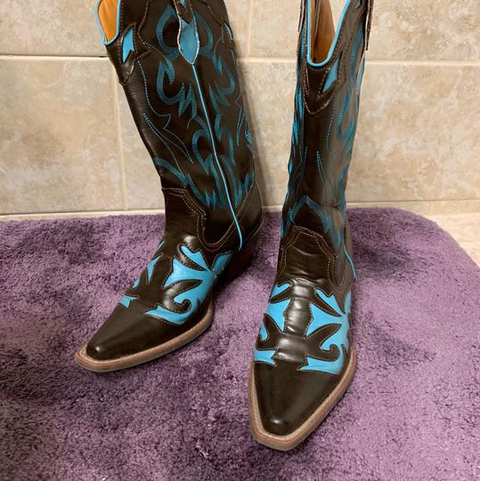 Lagos Brown and Turquoise Boots Image 1