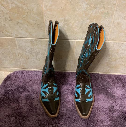 Lagos Brown and Turquoise Boots Image 3