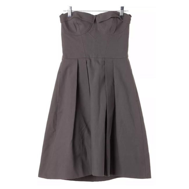 Item - Gray Strapless Bustier Corset Tie Back Sweetheart 38 Mid-length Short Casual Dress Size 2 (XS)